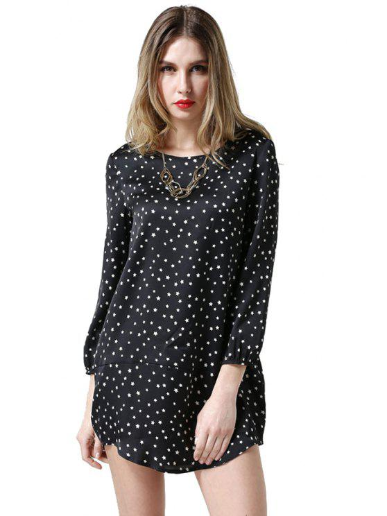 new Star Print Nine-Minute Sleeve Dress - BLACK L