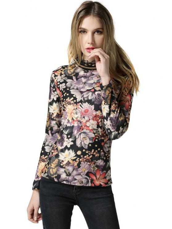 buy Long Sleeve Floral T-Shirt - COLORMIX L