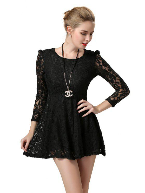 ladies Black 3/4 Sleeve Lace Dress - BLACK L
