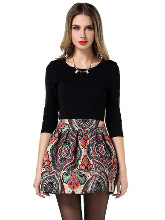 fancy Print Splicing Half Sleeve Dress - COLORMIX L