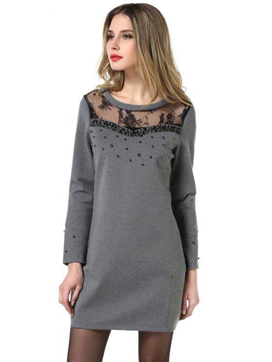 fancy Lace Splicing Rhinestone Dress - GRAY L
