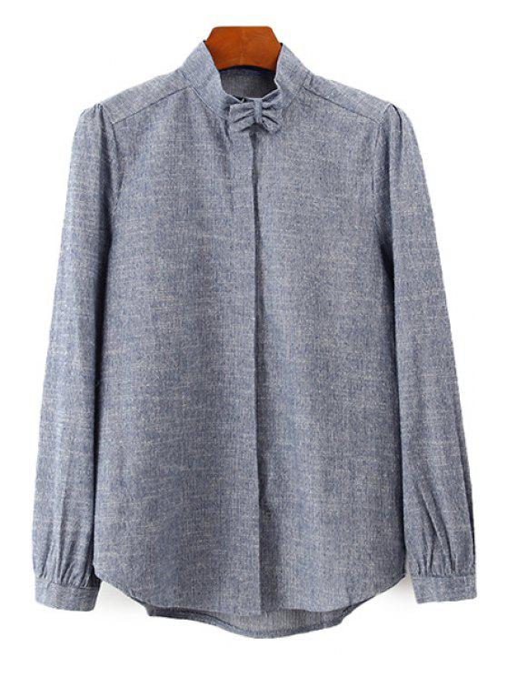 lady Stripe Asymmetrical Long Sleeve Shirt - GRAY S