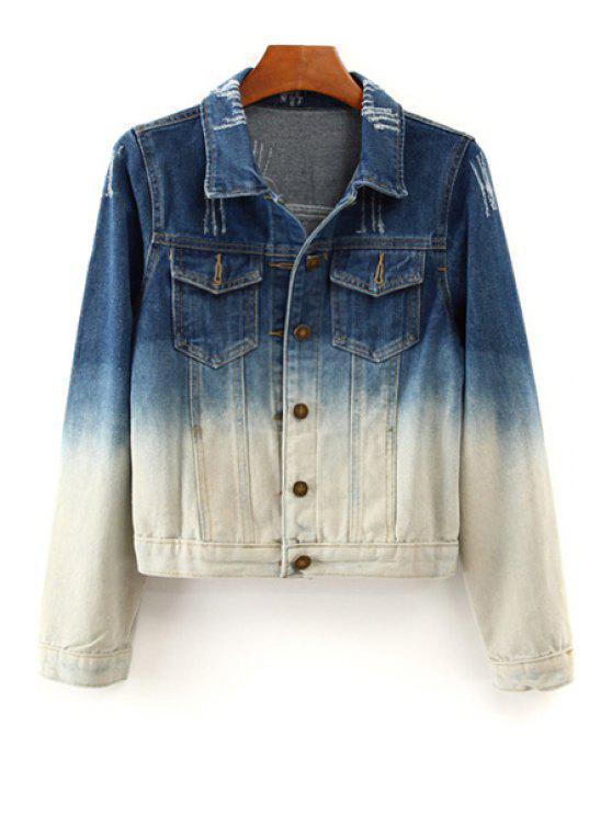 women Ombre Denim Long Sleeve Coat - BLUE AND WHITE S