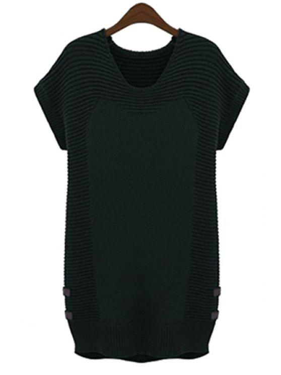 shops Solid Color Short Sleeve Sweater Dress - BLACK XL