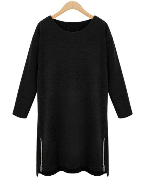 outfits Long Sleeve Side Zipper Dress - BLACK L