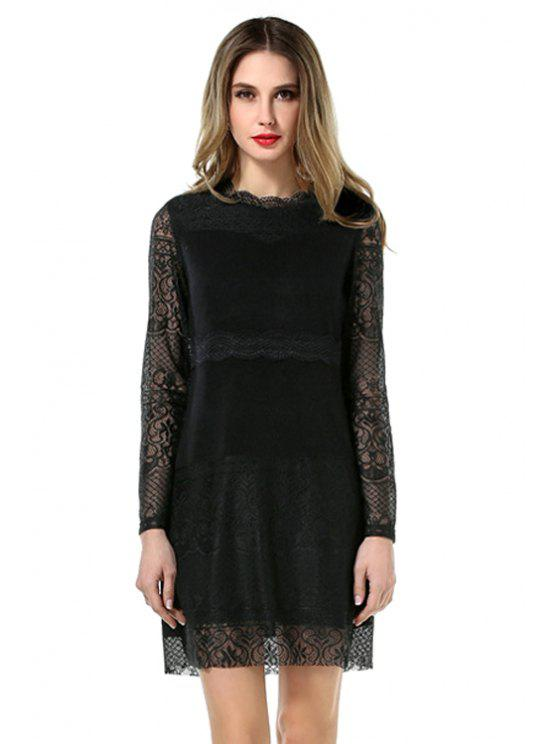 shops Black Lace Splicing Dress - BLACK L