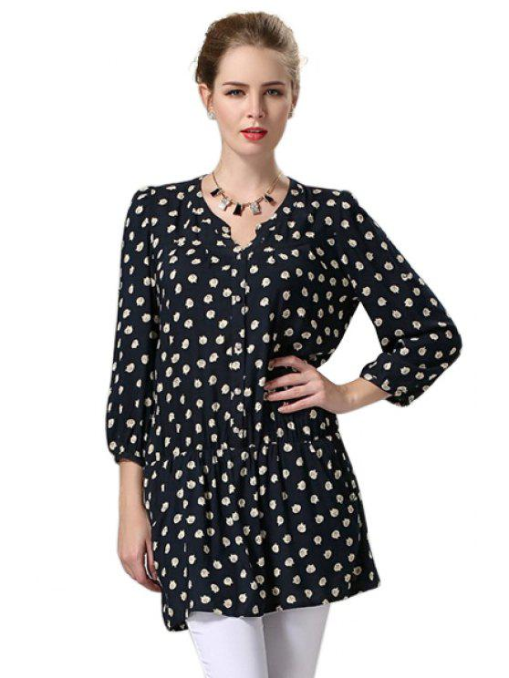 fancy Full Kitten Print 3/4 Sleeve Dress - CADETBLUE 5XL