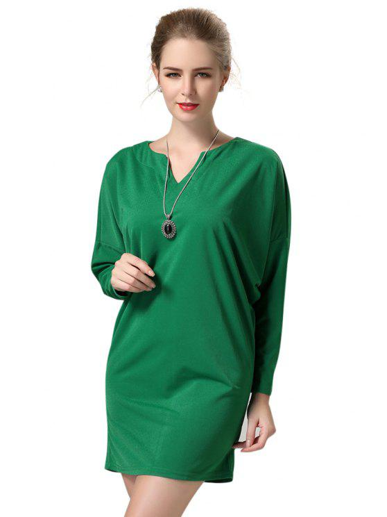 womens Solid Color V-Neck Dress - GREEN M