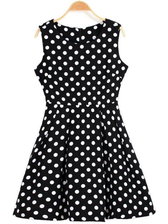 chic Polka Dot Sleeveless Dress - BLACK S