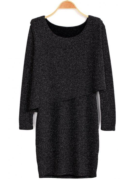 affordable Asymmetrical Belt Long Sleeve Dress - BLACK S