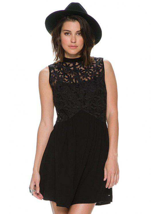 outfit Floral Embroidery Sleeveless Dress - BLACK XS