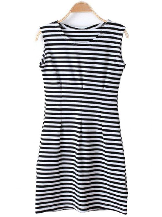 women Stripe Sleeveless Dress - WHITE AND BLACK M