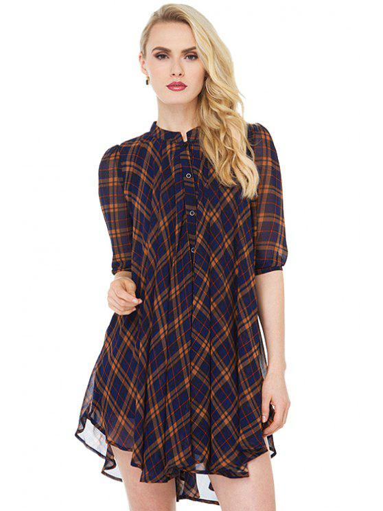 latest Plaid Print Half Sleeve Dress - CHECKED S