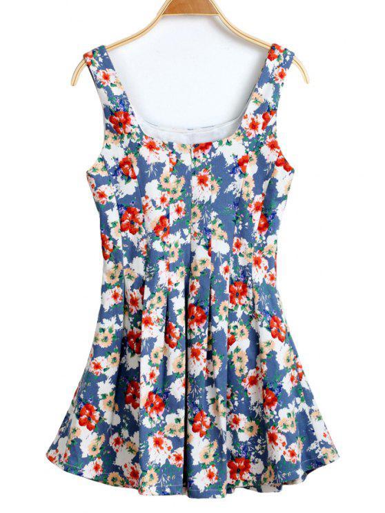 unique U-Neck Floral Print Ruffle Dress - LIGHT BLUE L
