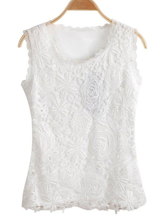 unique Floral Lace Sleeveless Tank Top - WHITE S