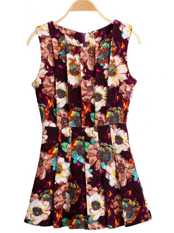 new Floral Print Sleeveless Jumpsuit - COLORMIX XS