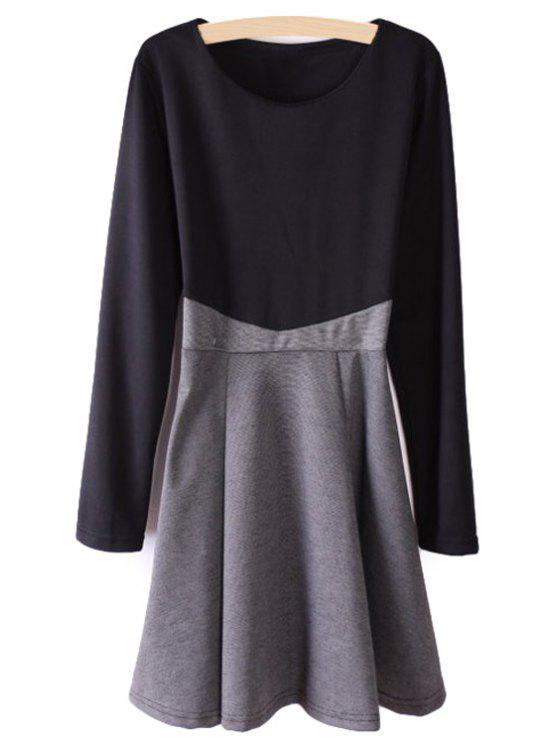 shop Color Block Splicing Long Sleeve Dress - BLACK AND GREY S