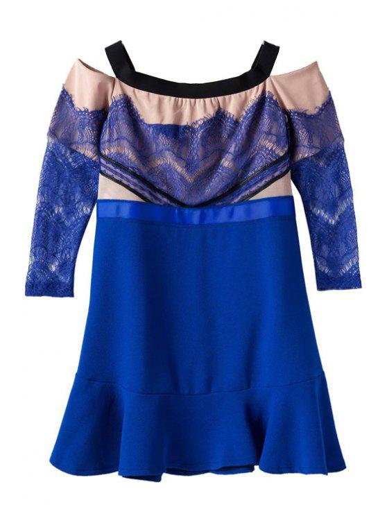 hot Lace Splicing Off-The-Shoulder Dress - BLUE S
