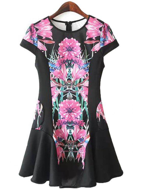unique Floral Short Sleeve Flouncing Dress - BLACK S