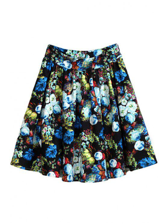 latest Floral Print Color Block Skirt - COLORMIX S