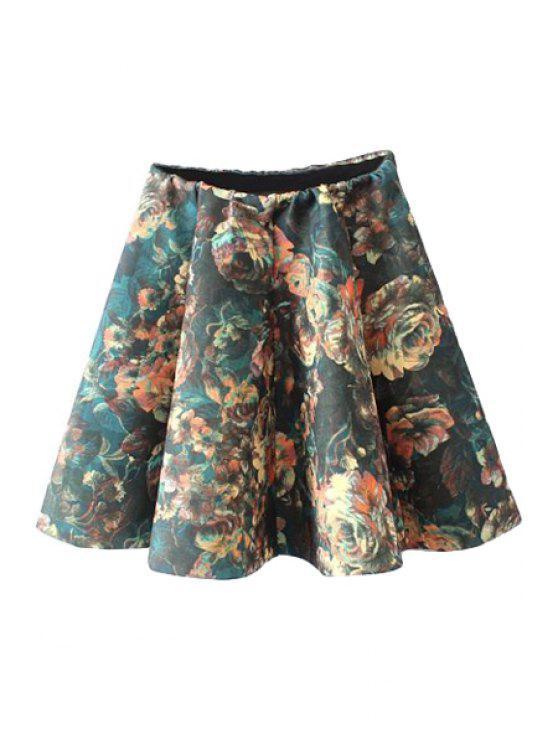 lady Floral Print Flouncing Skirt - COLORMIX S