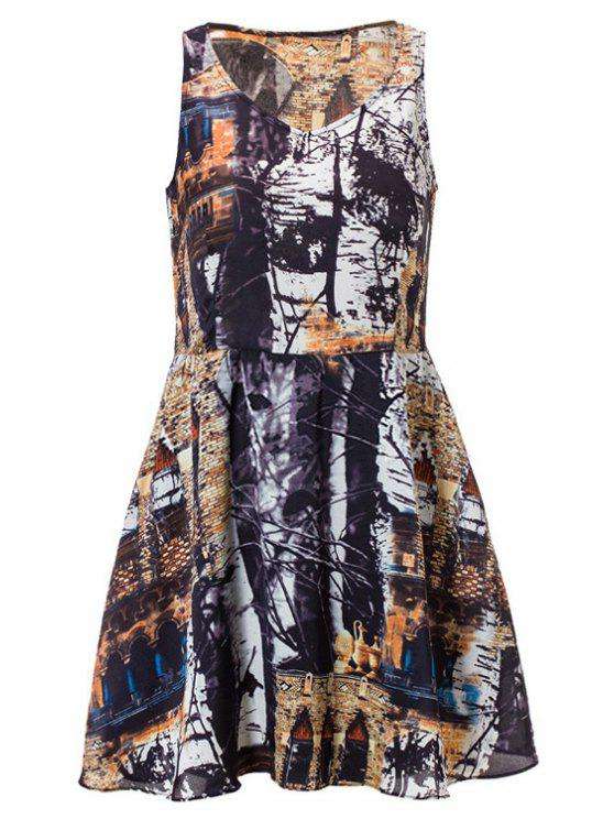 buy Tree Print Sleeveless Dress - COLORMIX M