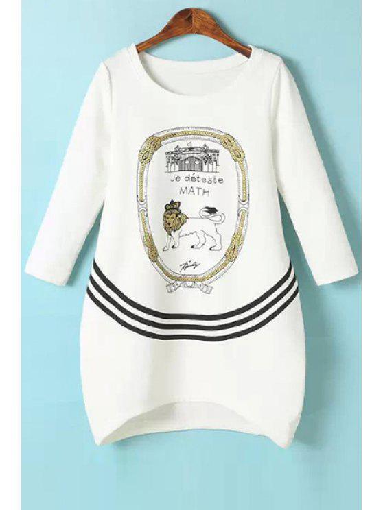 women's Lion Print 3/4 Sleeve T-Shirt - WHITE S