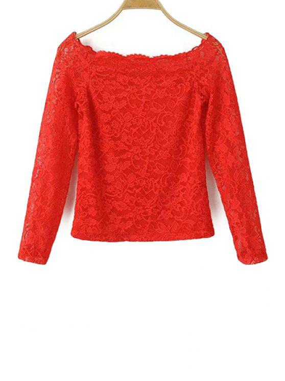 fancy Boat Neck Lace Blouse - RED S