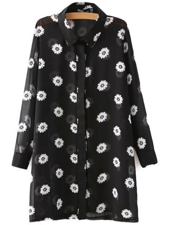 latest Full Flower Print Long Sleeves Shirt - BLACK S