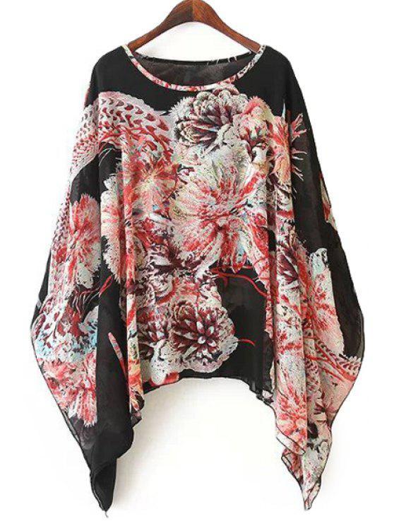 affordable Floral Print Cape Design Blouse - COLORMIX ONE SIZE(FIT SIZE XS TO M)
