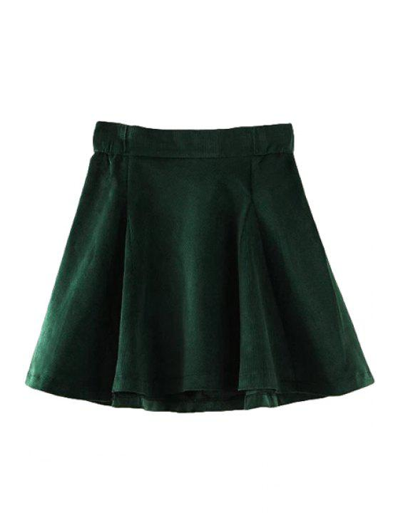 shop Corduroy Solid Color A-Line Skirt - GREEN S