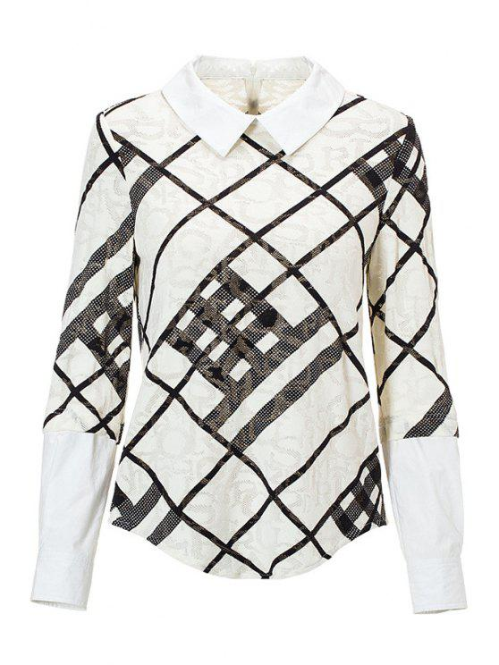 fashion Splicing Plaid Long Sleeve Shirt - WHITE M