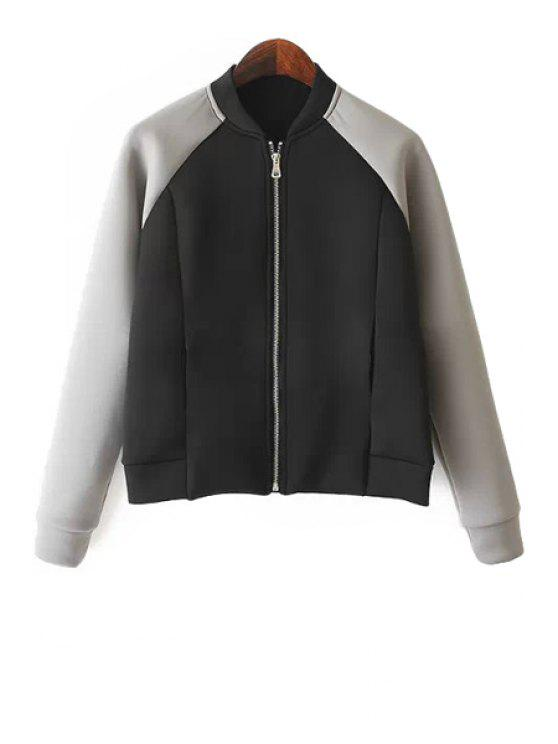 ladies Color Block Long Sleeves Jacket - BLACK AND GREY S