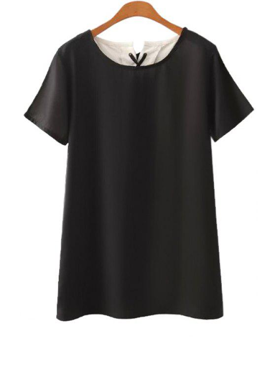 fashion Color Block Short Sleeve Dress - BLACK S