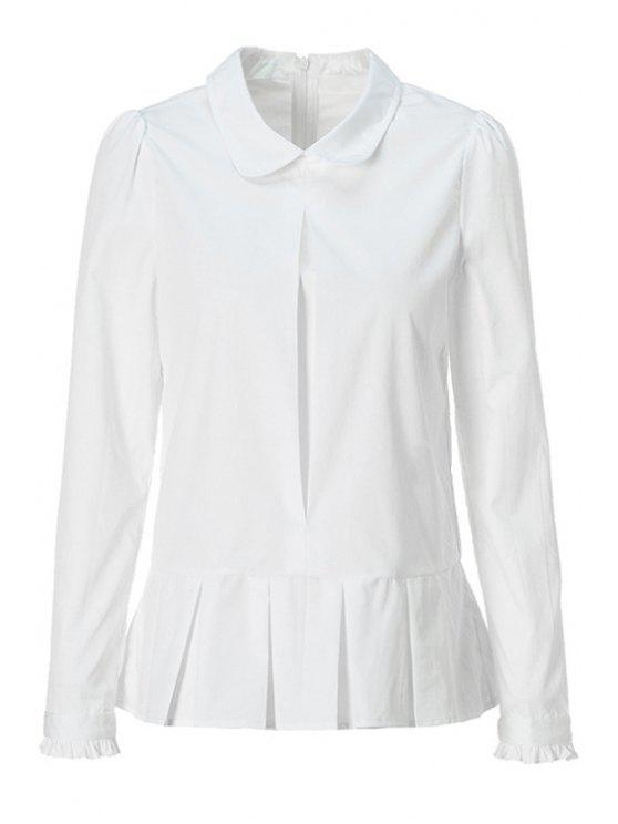 sale Solid Color Flounce Splicing Shirt - WHITE L