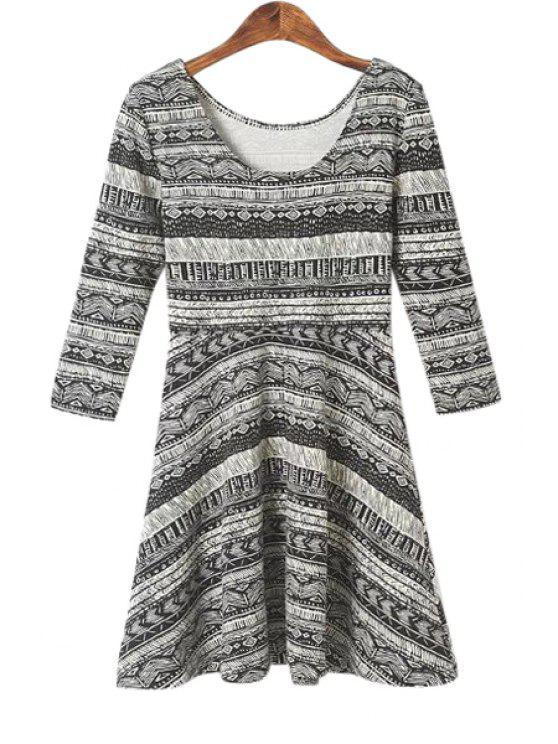 online Ethnic Print 3/4 Sleeve Dress - GRAY S