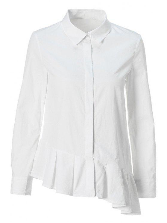 womens Flounce Splicing Asymmetrical Shirt - WHITE M