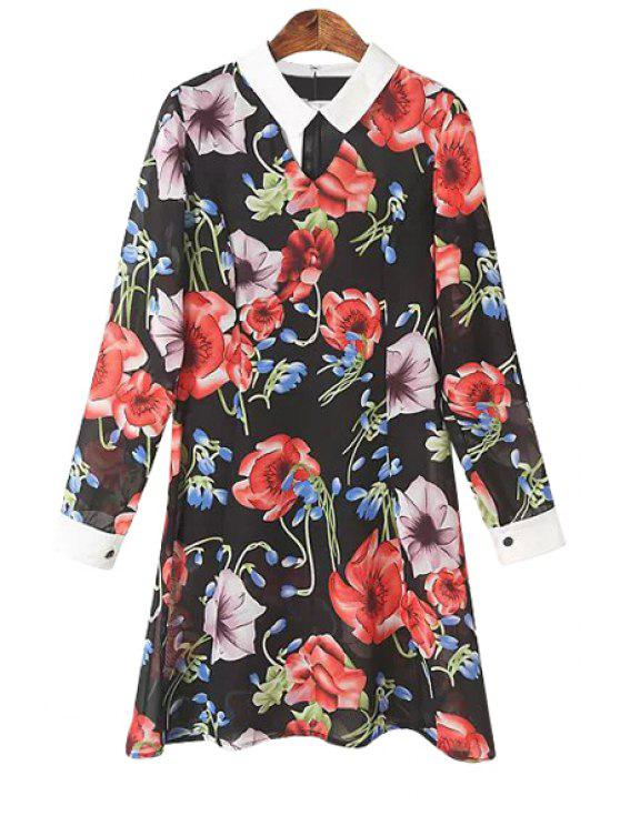 unique Floral Turn-Down Collar Chiffon Dress - RED S