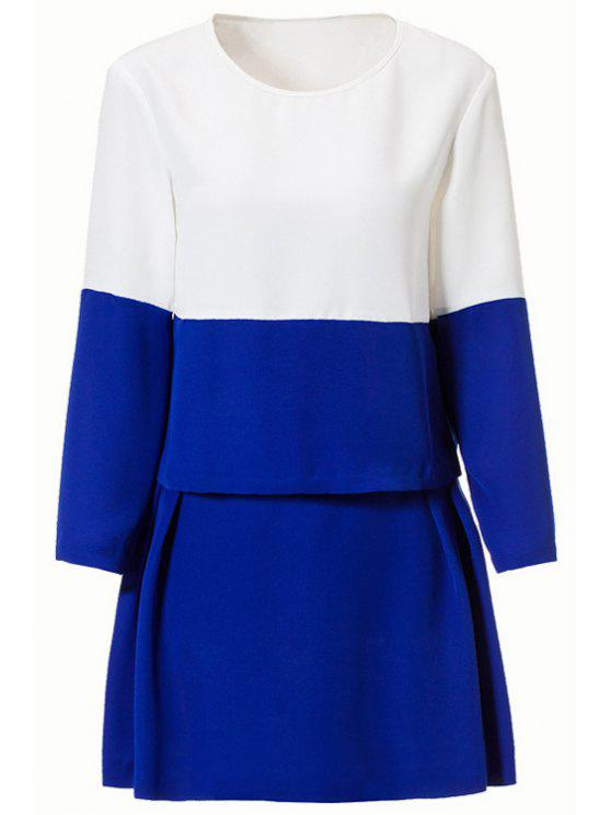 sale Color Block Long Sleeve Blouse + Skirt - BLUE AND WHITE M
