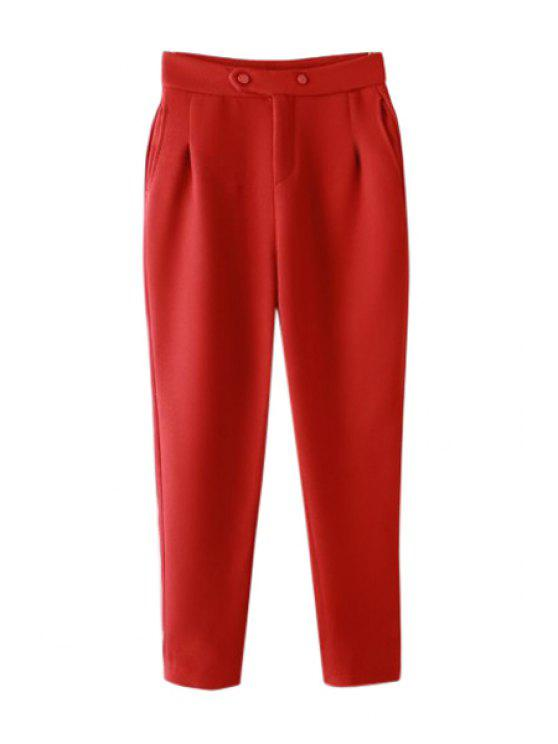 outfits Solid Color High Waisted Pants - RED L