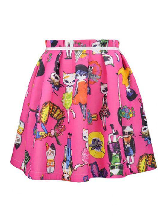 ladies Cartoon Cat Print Skirt - PLUM XL