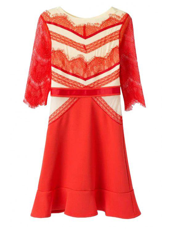 best Lace Splicing Half Sleeves Dress - RED S
