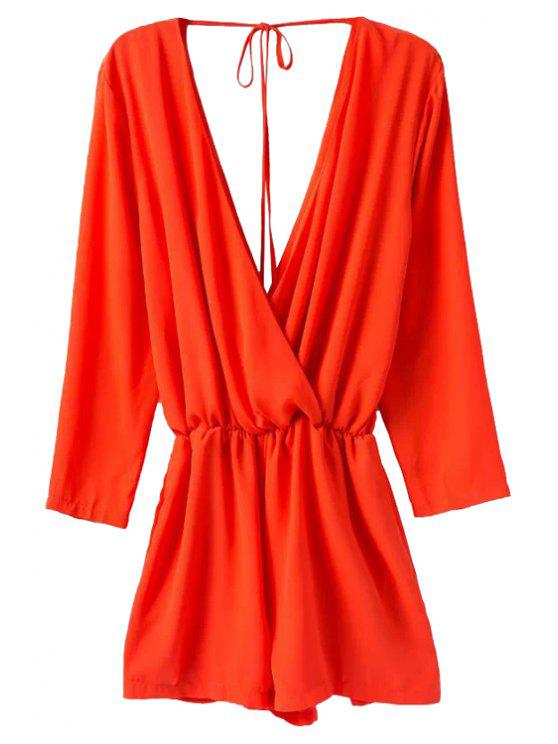 outfits Solid Color Plunging Neck Jumpsuit - RED S