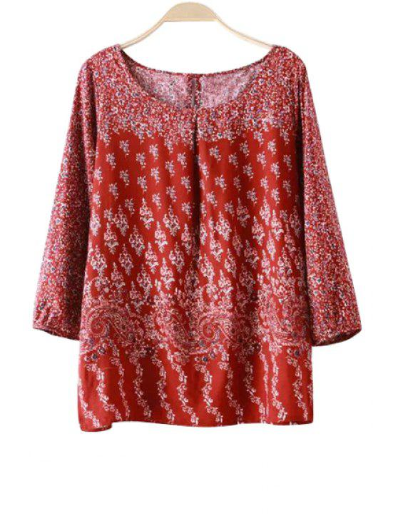 best Print 3/4 Sleeves Blouse - RED S
