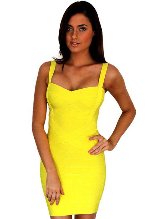 unique Solid Color Back Zipper Sleeveless Dress - YELLOW XXS