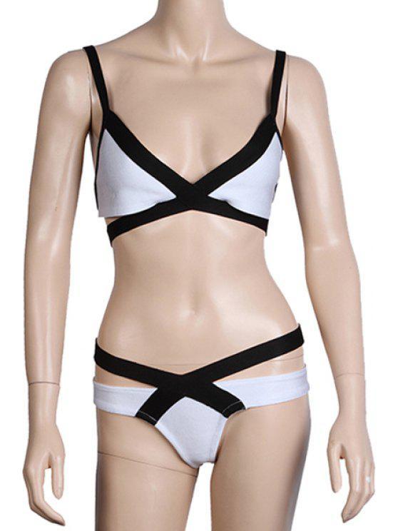 online Bandage Color Block Bikini Set - WHITE AND BLACK XS