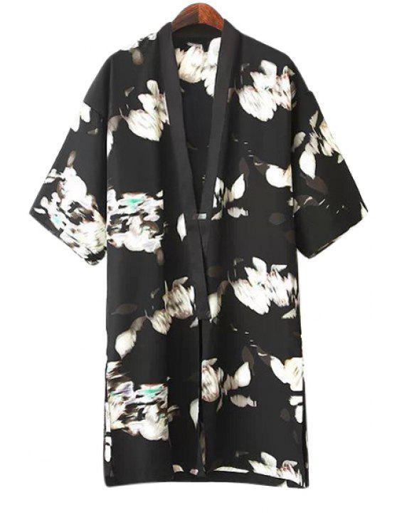 hot Abstract Print Half Sleeve Blouse - BLACK S