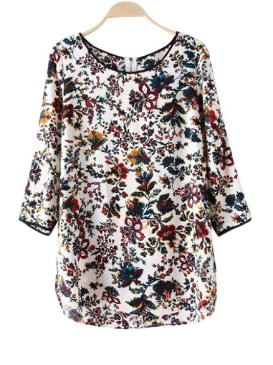 shop Floral Print 3/4 Sleeve Blouse - WHITE S