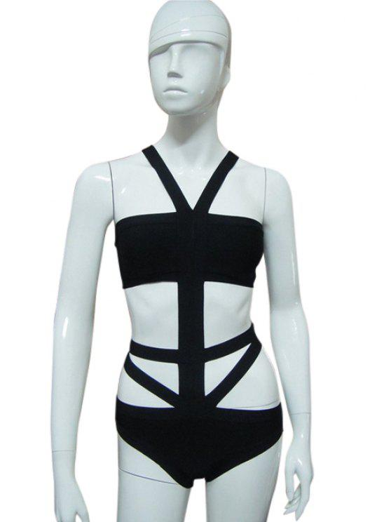 shops Strapless Bandage Swimwear - BLACK XXS