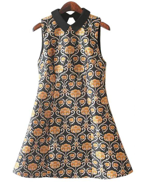 women's Retro Print Sleeveless Dress - YELLOW S